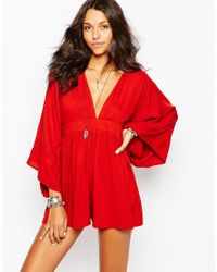 Motel - Red Kimono Sleeve Playsuit With Plunge Neck - Lyst