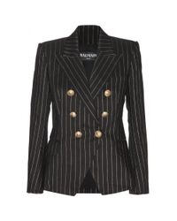 Balmain | Black Metallicpinstriped Cotton Blazer | Lyst