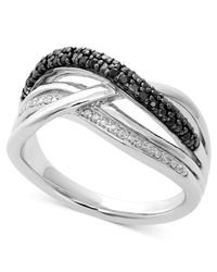 Macy's | Metallic Sterling Silver Ring, Black Diamond (1/5 Ct. T.w.) And Diamond Accent Overlapping Ring | Lyst