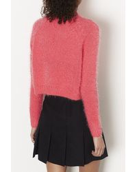 TOPSHOP - Red Knitted Fluffy Crop Jumper - Lyst