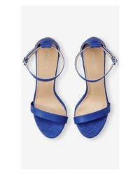 Express - Blue Sleek Heeled Sandal - Lyst