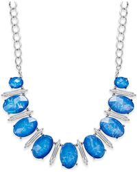Style & Co. | Silver-tone Blue Oval Foil Necklace | Lyst