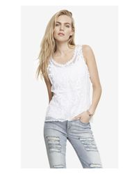 Express | White Baroque Lace Tank | Lyst