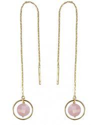 Perle De Lune Chez Carré Y. | Pink Long Chain Ellipse Earrings | Lyst