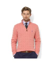 Ralph Lauren | Pink Halfzip Cable Knit Tussah Silk Sweater for Men | Lyst