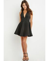 Forever 21 - Black Halter Fit And Flare Dress - Lyst