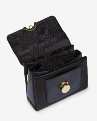 Ted Baker - Black Circle Clasp Leather Shoulder Bag - Lyst