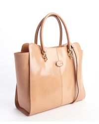 Tod's - Natural Light Brown Leather Convertible Shoulder Bag - Lyst