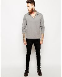 ASOS - Gray Long Sleeve Polo Shirt With Notch Neck for Men - Lyst