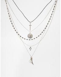 ASOS - Metallic Solstice Multi Row Choker Necklace - Lyst
