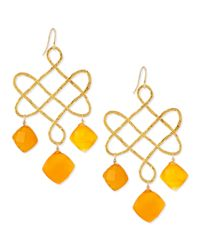 Devon Leigh - Orange Small Carnelian Chandelier Earrings - Lyst