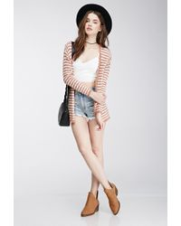 Forever 21 - Brown Striped Knit Cardigan - Lyst