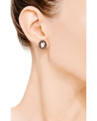 Amedeo - Natural Hand Carved Sardonyx Shell Cameo Earrings Set in Black Rhodium Plated Silver with Brown Diamonds - Lyst
