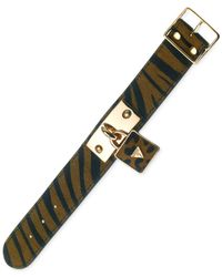 Guess | Brown Gold-tone Leopard Tiger Buckle Bracelet | Lyst