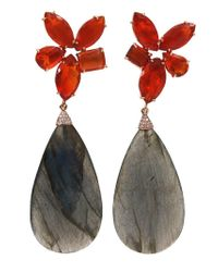 Irene Neuwirth - Black Labradorite, Opal And Diamond Drop Earrings - Lyst