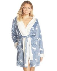 Pj Salvage - Blue Fleece Short Robe - Lyst