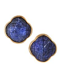 Stephen Dweck - Blue Carved Sodalite Clover Button Earrings - Lyst