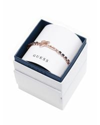Guess | Metallic My In A Box Logo Montana Blu Stones Rose Gold-plated Bracelet | Lyst