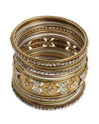 Chamak by Priya Kakkar - Metallic Set Of 17 - Gold And Crystal Bangles - Lyst