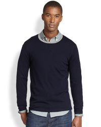 Vince - Blue Suede-Patch Sweater for Men - Lyst