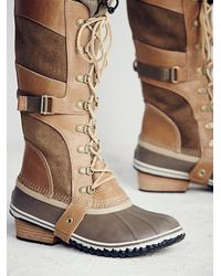 Free People - Brown Conquest Carly Leather and Suede Boots - Lyst