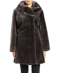Gallery | Gray Fitted Faux Fur Coat | Lyst