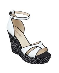 Nine West | White Jacoby Leather Wedge Sandals | Lyst