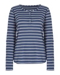 Linea Weekend | Blue Ls Button Front Stripe Top | Lyst