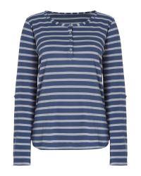 Linea Weekend | Blue Ls Button Front Stripe Top | Lyst