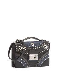 Prada - Black Bicolor Studded Saffiano Sound Bag - Lyst
