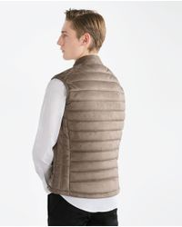 Zara | Brown Faux Suede Gilet for Men | Lyst