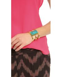 Paige Novick - Isabelle Collection 3 Row Cuff with Stone Inset Shiny Goldturq Blue - Lyst