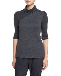 Theory - Black Taj Delfina Two-tone Turtleneck Sweater - Lyst