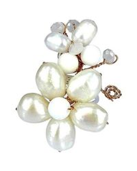 Aeravida - Metallic Butterfly And Floral Connections Freshwater White Pearl Ring - Lyst