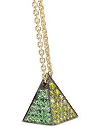 Noor Fares | Green Pyramid 18-Karat Gold Multi-Stone Necklace | Lyst
