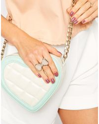 Lipsy - Pink Facet Bow Stretch Ring - Lyst
