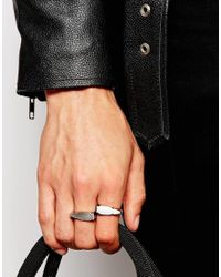 ASOS - Metallic Arrow Ring Pack In Silver for Men - Lyst