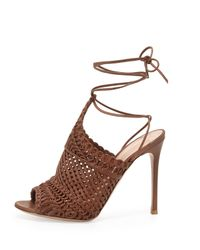 Gianvito Rossi - Brown Woven Leather Sandals - Lyst