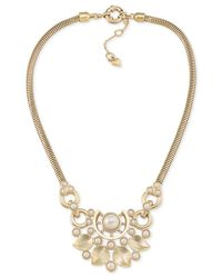 Carolee | Metallic Gold-tone Imitation Pearl Statement Necklace | Lyst