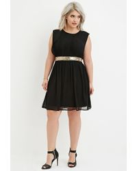 Forever 21 - Black Plus Size Sequin-panel Layered Chiffon Dress - Lyst
