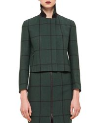 Akris Punto - Black Checked Woven Short Jacket - Lyst