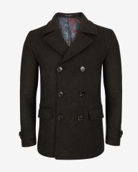 Ted Baker | Green Herringbone Peacoat for Men | Lyst