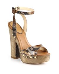Alexandre Birman | Brown Python Platform Sandals | Lyst