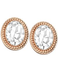 Swarovski - Metallic Rose Gold-tone Crystal Oval Button Earrings - Lyst