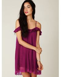 Free People - Red Off The Shoulder Slip - Lyst