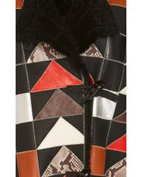 COACH | Black Patchwork Shearling Coat | Lyst