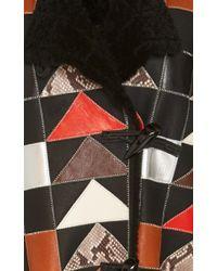 COACH - Black Patchwork Shearling Coat - Lyst
