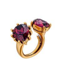 Oscar de la Renta - Red Bold Pear Stone Ring - Lyst