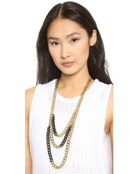 Michael Kors - Metallic Two Tone Curb Chain Statement Necklace - Two Tone Jet Pave - Lyst