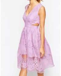 ASOS   Green Petite Prom Dress With Floral Embroidery And Cutout Detail   Lyst